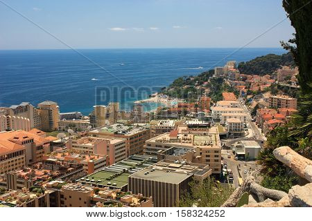 View Monaco neighborhoods. The beautiful Mediterranean Coast. Cote d'Azur.