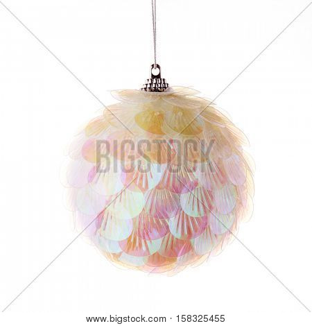 Nacreous plastic  toy for decoration of a Christmas and New Year fir tree on a white background.