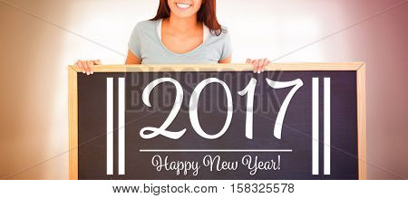 holding, showing, black, board, standing, wood, background, smart, elegant, classy, corporate, professional, sign, new year, wooden, table, calm, 2017, hands, people, chalk