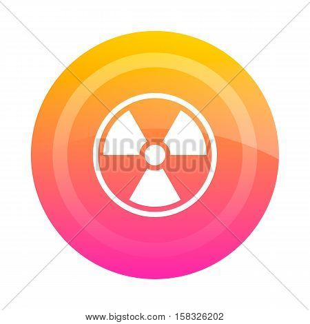 Button badge radiation vector image. Colored button with the sign of radiation danger in the center. Icon.