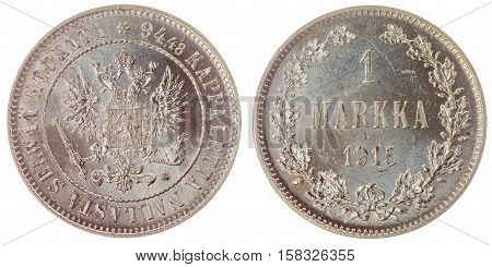 1 Markka 1915 Coin Isolated On White Background, Finland