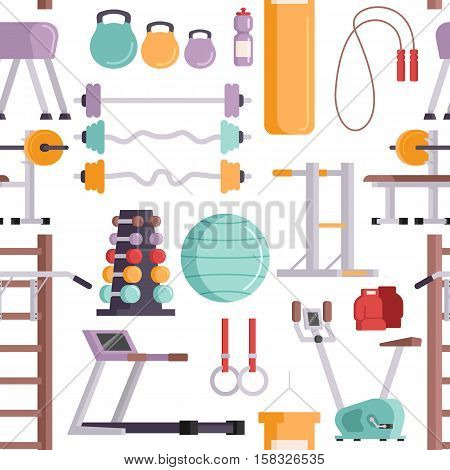 Vector illustration of gym equipment seamless pattern and training body gym sport equipment. Fitness sport gym exercise equipment workout flat set concept vector illustration.