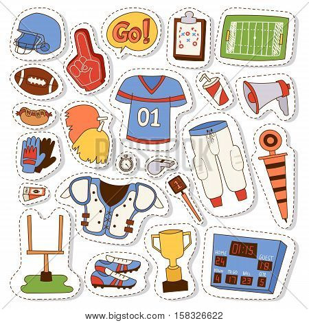 Football game sport icons vector design goal league set. American football icons vector sport ball design graphic activity team elements. American football icons hand drawn doodle patches.