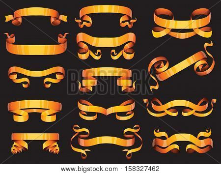 Set of golden ribbons of different web forms vector illustration. Birthday scroll art blank present decoration golden ribbons celebration design. Golden ribbons bow gift banner label holiday symbol.