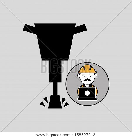 under construction laptop worker jackhammer vector illustration eps 10