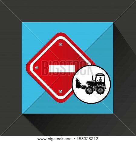 construction truck concept road sign stop design vector illustration eps 10