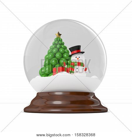 3d rendering of snowman in a snow globe over white. Christmas concept.