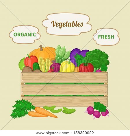 Vegetables mixed in a wooden box. Crate with autumn vegetables. Fresh Organic food from the farm. Vector colorful illustration of the logo autumn harvest