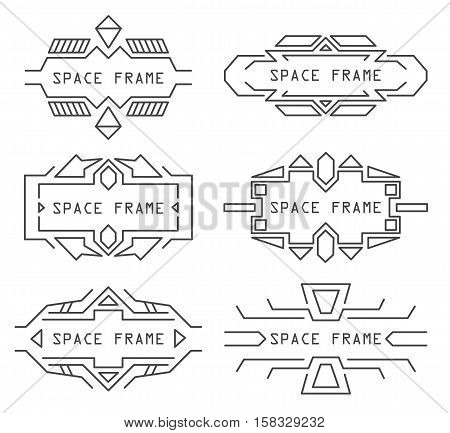 Vector line frames set in space style. Stock isolated set for design on white background.