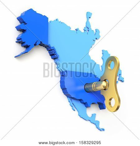 American economic momentum concept with clockwork key and north american map - 3D illustration