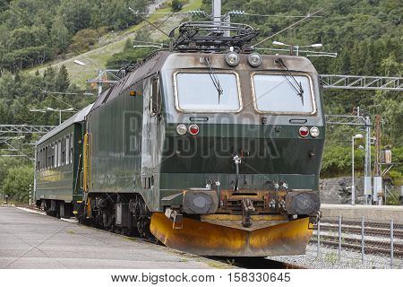 Flam railway station. Norwegian tourism highlight. Electric locomotive. Transportation. Horizontal