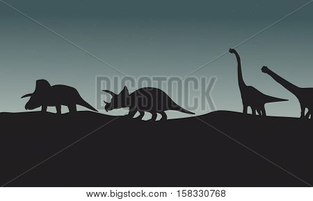 Silhouette of triceratops and brachiosaurus scenery vector illustration