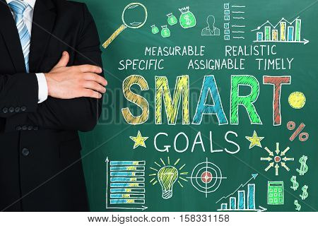 Close-up Of Successful Businessperson Standing Near Blackboard Showing Smart Goal Concept