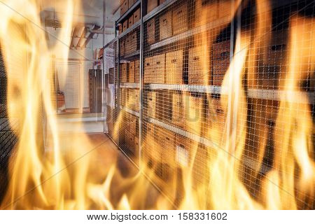 Close-up Of Fire Burning Inside The Storage Apartment Of Building