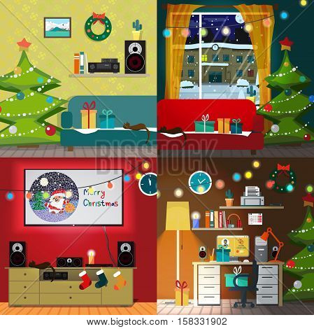 Set of christmas room interiors. Christmas tree gift and decoration. Home desk with a chair and a computer. Sofa and a home theater. Flat cartoon vector illustration