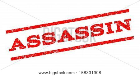 Assassin watermark stamp. Text caption between parallel lines with grunge design style. Rubber seal stamp with dust texture. Vector red color ink imprint on a white background.