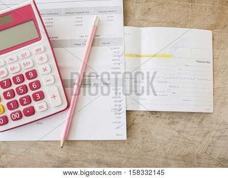 document monthly expense credit card and payment bill of bank
