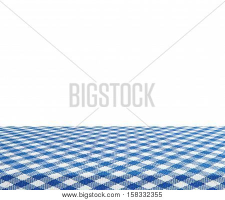 Empty table and blue tablecloth isolated on white background - use for your photomontage or product display