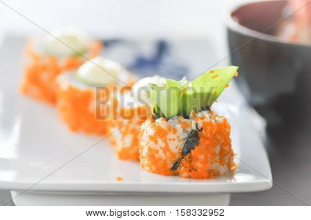 California Maki dish or rice rool in Japanese food