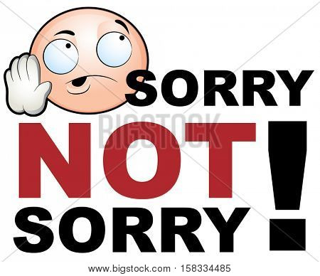 An image of sorry not sorry emotion icon.