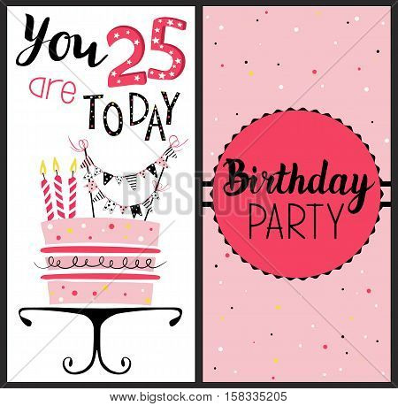 Birthday card with cake numbers of years (age) with gold glittering parts topper candles and lettering text. Vector hand drawn illustration.