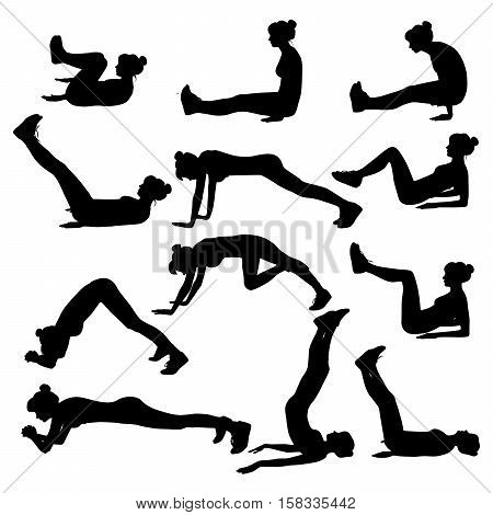 Vector set of silhouette of a girl trains on white. Exercises on the lower press.