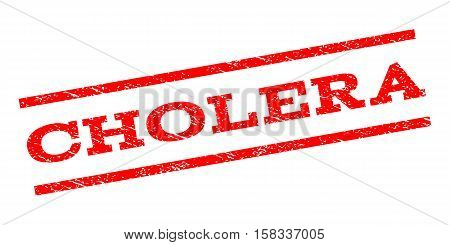 Cholera watermark stamp. Text tag between parallel lines with grunge design style. Rubber seal stamp with unclean texture. Vector red color ink imprint on a white background.
