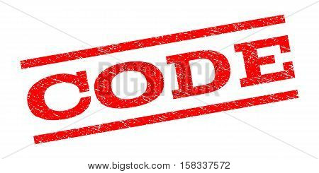 Code watermark stamp. Text caption between parallel lines with grunge design style. Rubber seal stamp with unclean texture. Vector red color ink imprint on a white background.