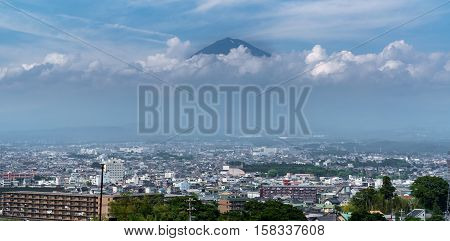 Wide view of Mt.Fuji and clouds over Fujinomiya, Shizuoka, Japan