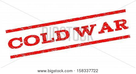 Cold War watermark stamp. Text caption between parallel lines with grunge design style. Rubber seal stamp with dust texture. Vector red color ink imprint on a white background.