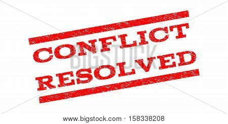 Conflict Resolved watermark stamp. Text caption between parallel lines with grunge design style. Rubber seal stamp with dirty texture. Vector red color ink imprint on a white background.