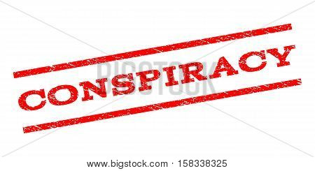 Conspiracy watermark stamp. Text tag between parallel lines with grunge design style. Rubber seal stamp with unclean texture. Vector red color ink imprint on a white background.