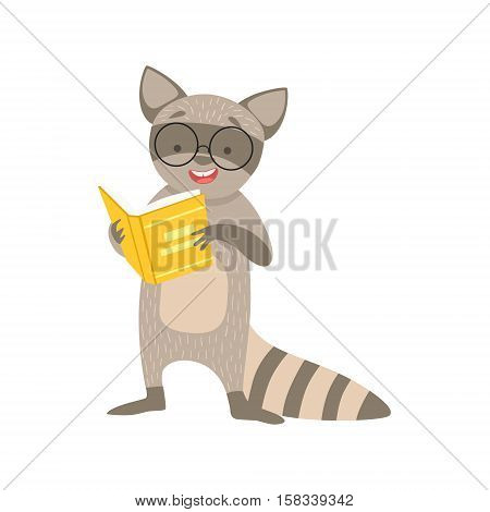 Raccoon Smiling Bookworm Zoo Character Wearing Glasses And Reading A Book Cartoon Illustration Part Of Animals In Library Collection. Flat Vector Drawing With Childish Design Fauna Studying The Literature.