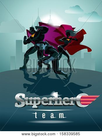 Poster. Superhero Team; Team of superheroes posing in front of a light.