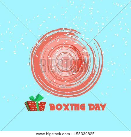 Boxing day design with red gift box on blue background. Vector illustration for banner poster and flyer. Boxing day greeting card