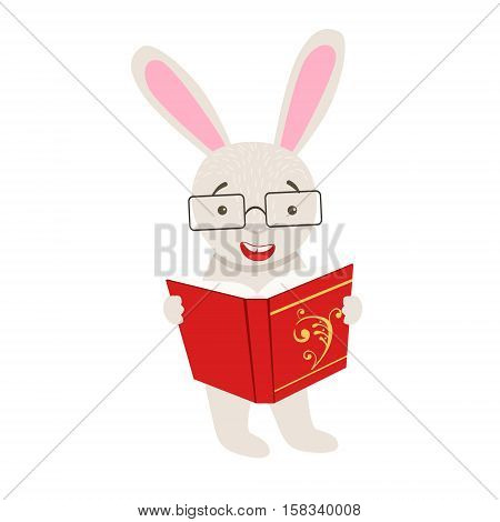 White Rabbit Smiling Bookworm Zoo Character Wearing Glasses And Reading A Book Cartoon Illustration Part Of Animals In Library Collection. Flat Vector Drawing With Childish Design Fauna Studying The Literature. poster