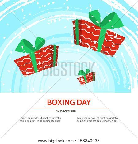Boxing day design with red gift box on blue textured background . Vector illustration for banner poster and flyer. Boxing day template