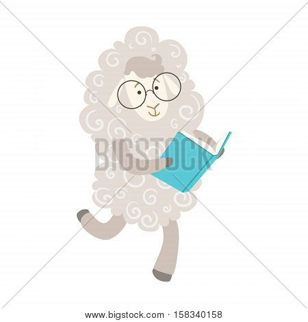 Sheep Smiling Bookworm Zoo Character Wearing Glasses And Reading A Book Cartoon Illustration Part Of Animals In Library Collection. Flat Vector Drawing With Childish Design Fauna Studying The Literature.