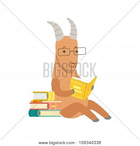 Goat Smiling Bookworm Zoo Character Wearing Glasses And Reading A Book Cartoon Illustration Part Of Animals In Library Collection. Flat Vector Drawing With Childish Design Fauna Studying The Literature. poster