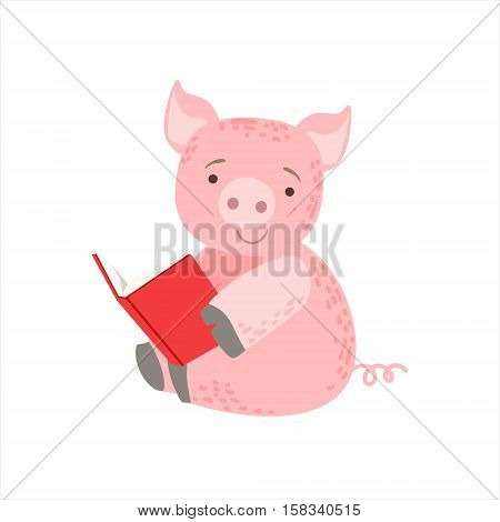 Pig Smiling Bookworm Zoo Character Wearing Glasses And Reading A Book Cartoon Illustration Part Of Animals In Library Collection. Flat Vector Drawing With Childish Design Fauna Studying The Literature.