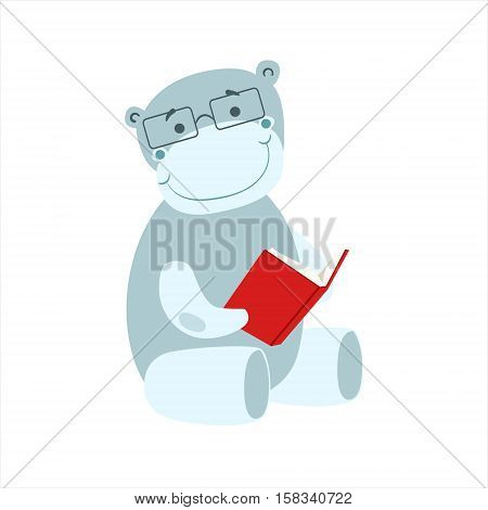 Hippo Smiling Bookworm Zoo Character Wearing Glasses And Reading A Book Cartoon Illustration Part Of Animals In Library Collection. Flat Vector Drawing With Childish Design Fauna Studying The Literature.