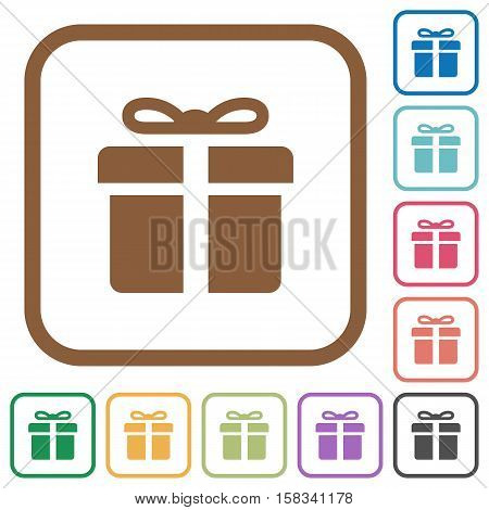 Gift box simple icons in color rounded square frames on white background