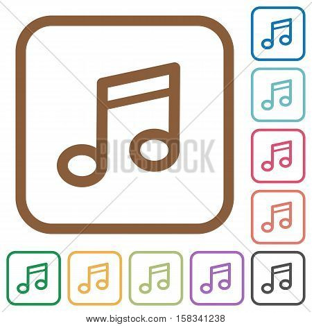Music note simple icons in color rounded square frames on white background