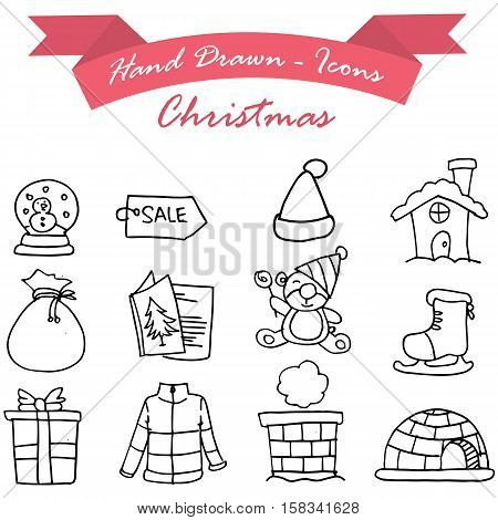 Merry Christmas icons vector illustration collection stock