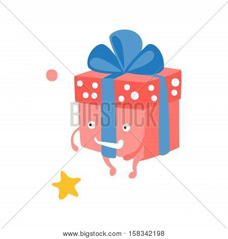 Wrapped Gift Box With Ribbon Children Birthday Party Attribute Cartoon Happy Humanized Character In Girly Colors. Kids Celebration Related Object With Smiling Face Flat Vector Illustration.
