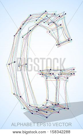 Abstract illustration of a Multicolor sketched uppercase letter G with Transparent Shadow. Hand drawn 3D G for your design. EPS 10 vector illustration.