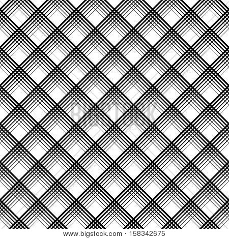 Seamless Tartan Pattern. Minimalistic Grid Texture. Vector Black and White Woven Background. British Plaid Ornament. Abstract Diagonal Thin Line Art Wallpaper