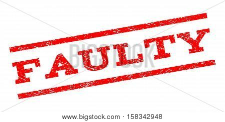 Faulty watermark stamp. Text caption between parallel lines with grunge design style. Rubber seal stamp with dust texture. Vector red color ink imprint on a white background.