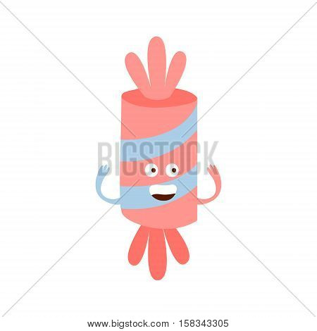 Wrapped Candy Children Birthday Party Attribute Cartoon Happy Humanized Character In Girly Colors. Kids Celebration Related Object With Smiling Face Flat Vector Illustration.