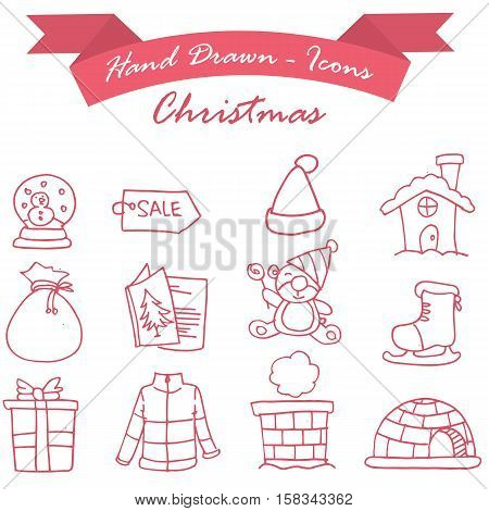 Element Christmas set of icons collection stock